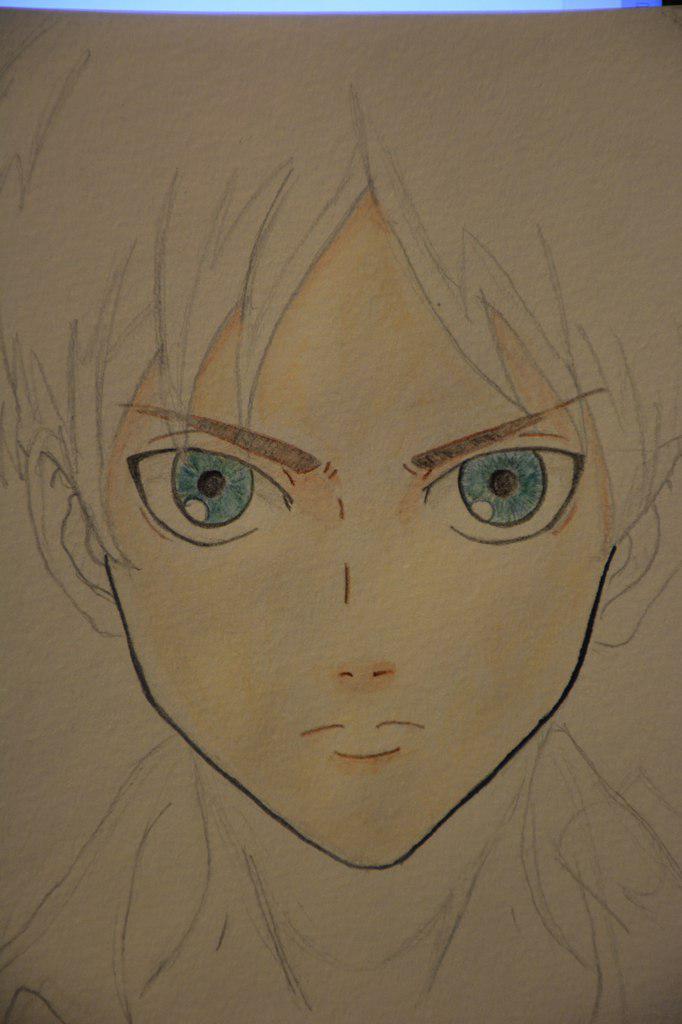 Рисуем Эрена Йегеря цветными карандашами - шаг 11