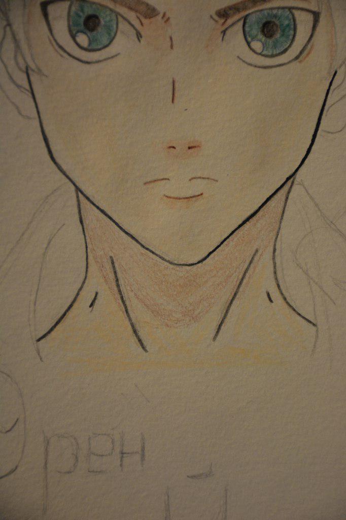 Рисуем Эрена Йегеря цветными карандашами - шаг 12