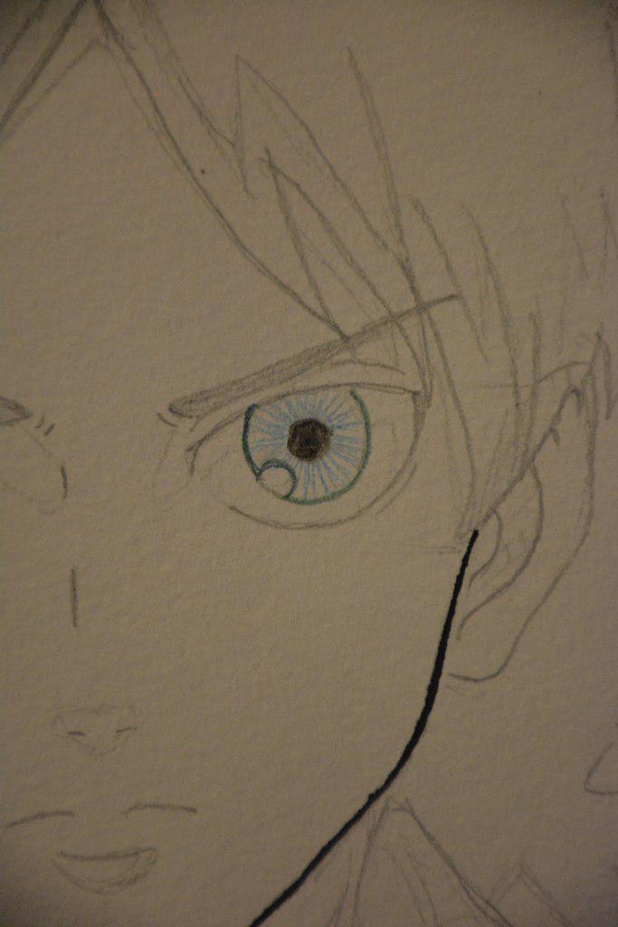 Рисуем Эрена Йегеря цветными карандашами - шаг 7