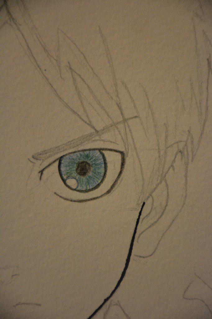 Рисуем Эрена Йегеря цветными карандашами - шаг 8