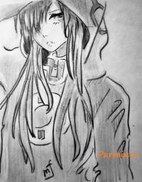 Фото карандашом Тсубоми Кидо из аниме Призрачный проект