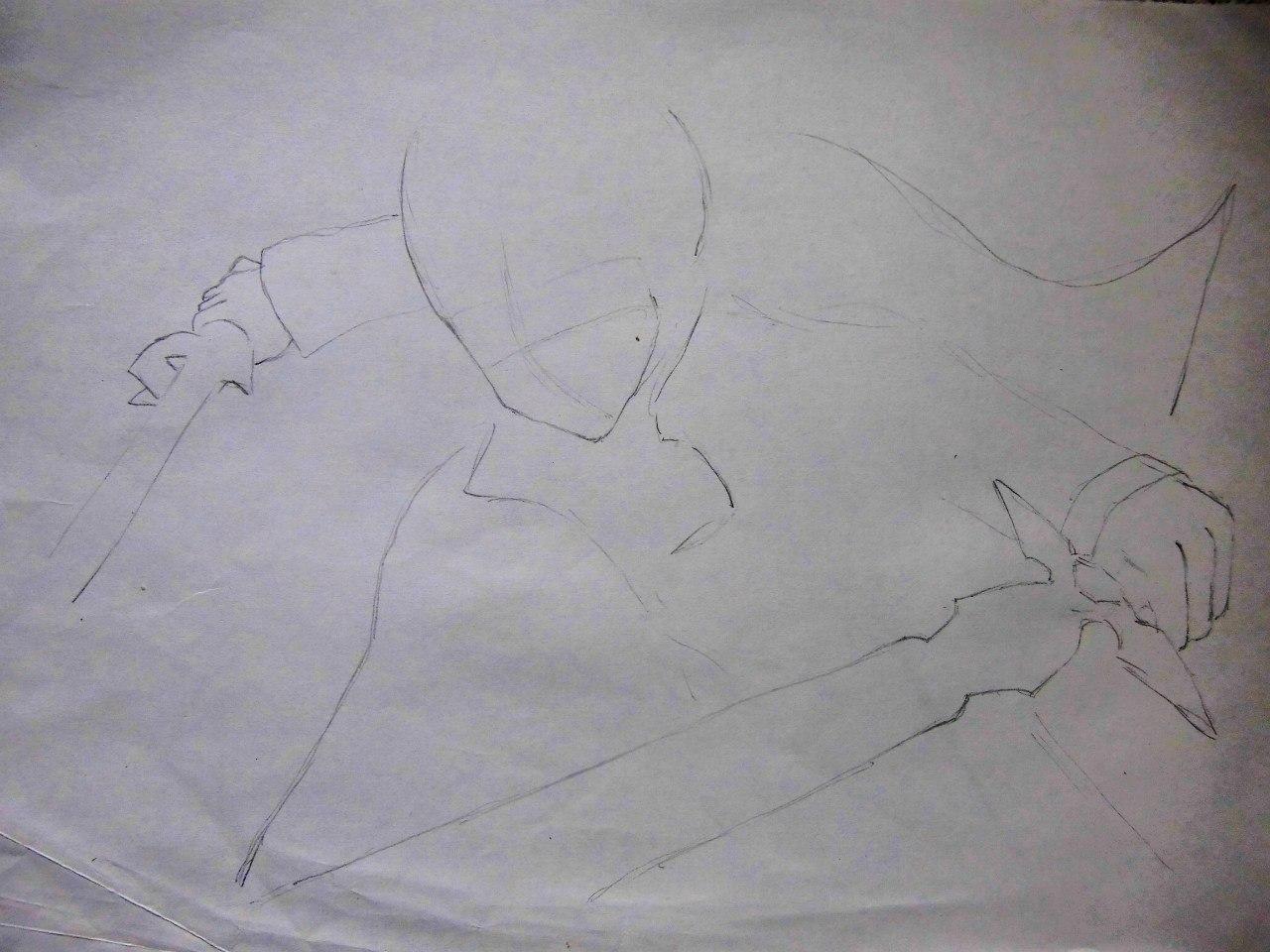 Рисуем Кадзуто Киригая с двумя мечами карандашами - шаг 1