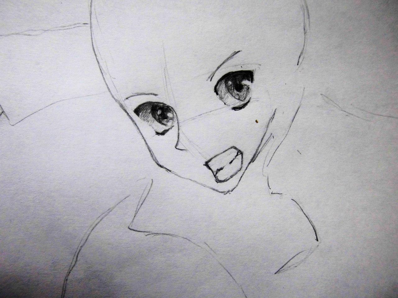 Рисуем Кадзуто Киригая с двумя мечами карандашами - шаг 2