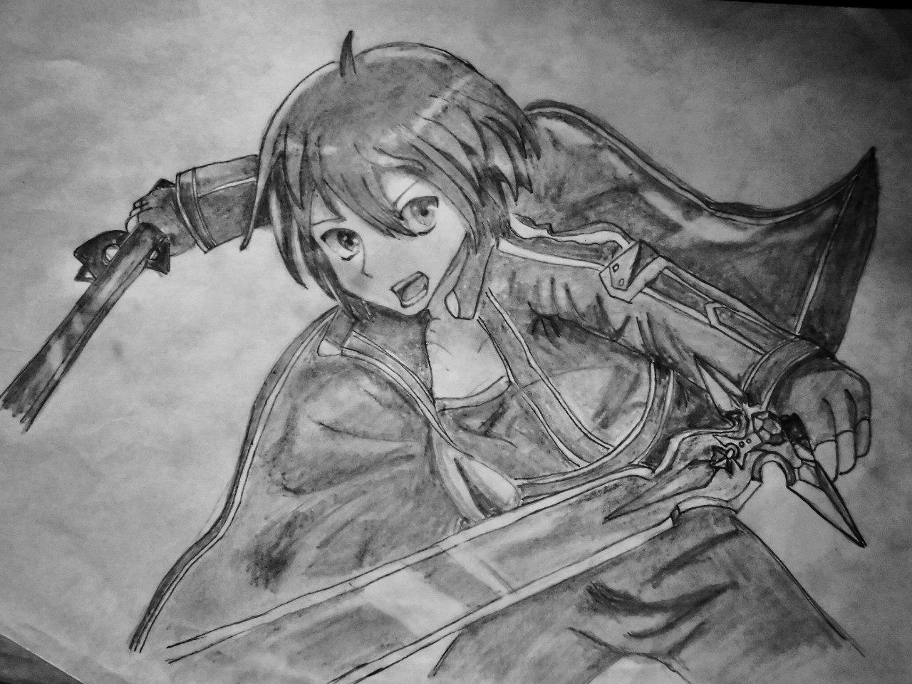 Рисуем Кадзуто Киригая с двумя мечами карандашами - шаг 8