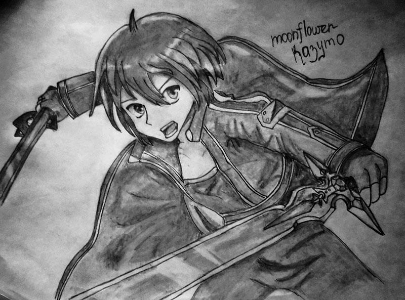 Рисуем Кадзуто Киригая с двумя мечами карандашами - шаг 9