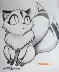 Кирара из анимэ Инуяша карандашом