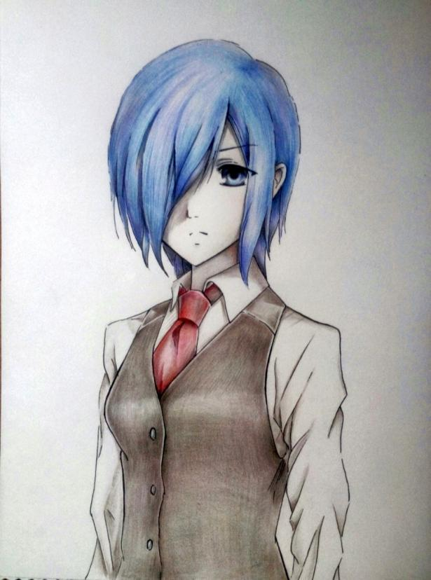 Рисуем Киришиму Тоуку из аниме Токийский гуль карандашами - шаг 11