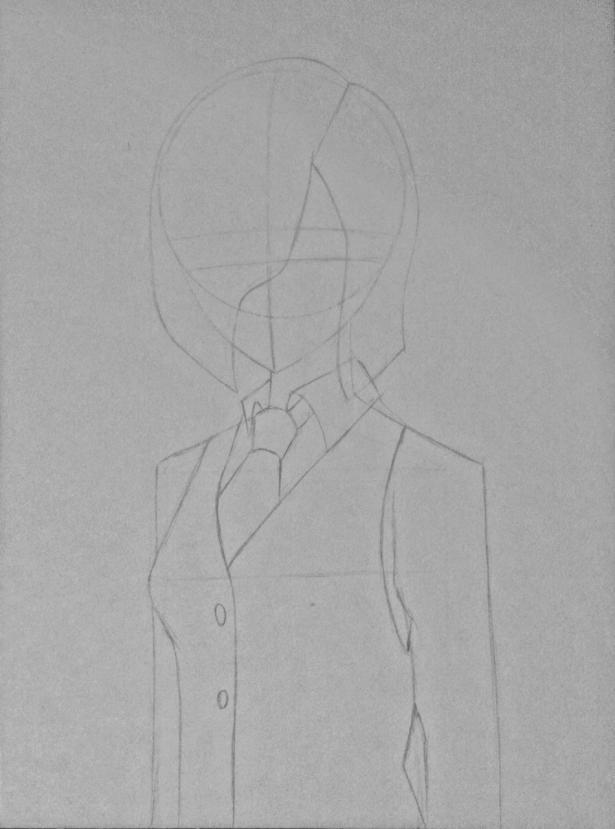Рисуем Киришиму Тоуку из аниме Токийский гуль карандашами - шаг 5
