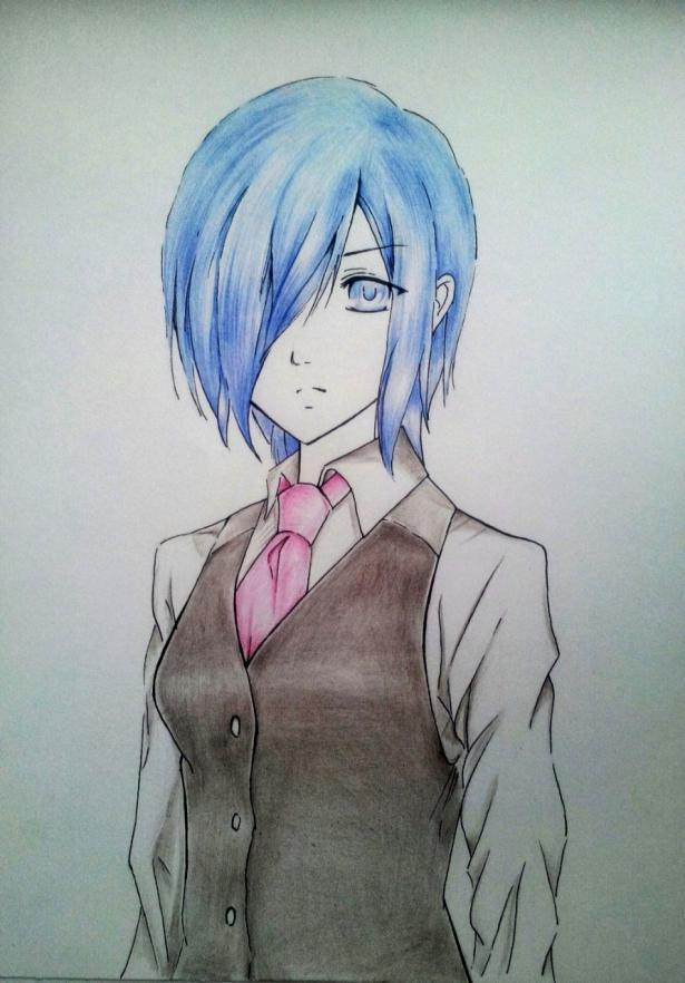 Рисуем Киришиму Тоуку из аниме Токийский гуль карандашами - шаг 9