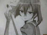 Фото Куромэ из Убийца Акаме простым карандашом