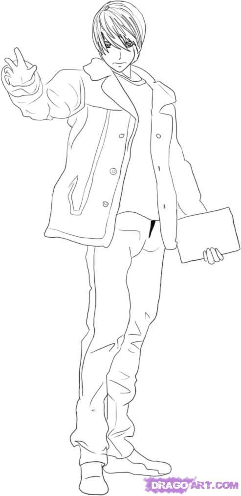 Рисуем Лайта Ягами в полный рост - шаг 5