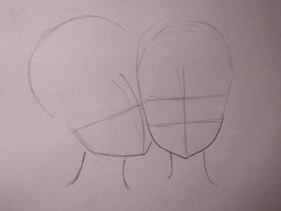 Рисуем Лен и Рин из Вокалоидов - шаг 1