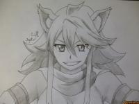 Леоне из аниме Убийца Акаме простым карандашом