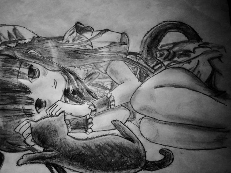 Рисуем лежащую аниме девушку кошку - шаг 11