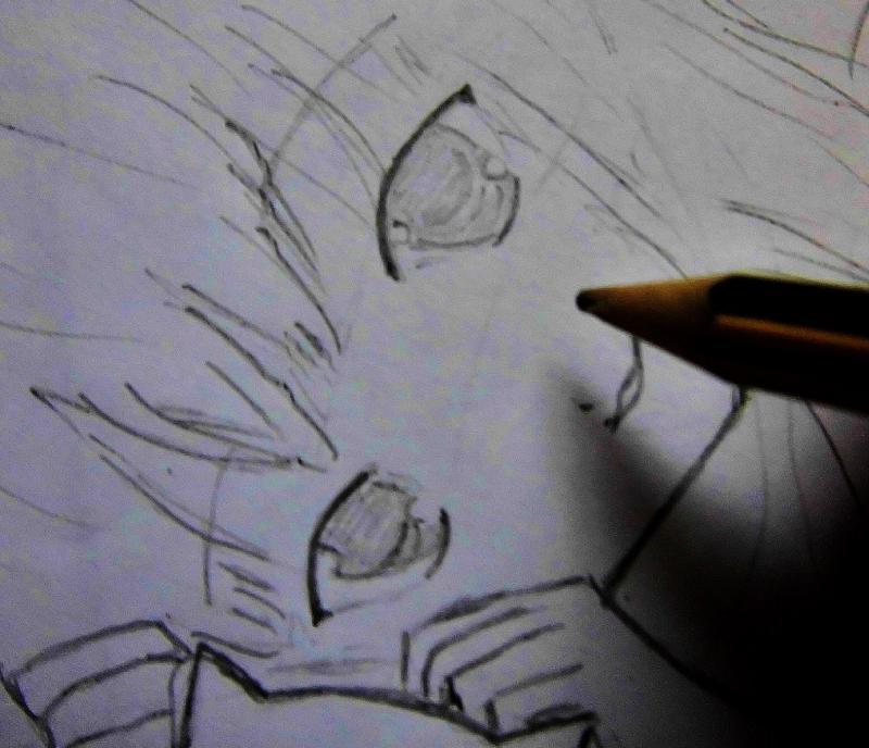 Рисуем лежащую аниме девушку кошку - шаг 3