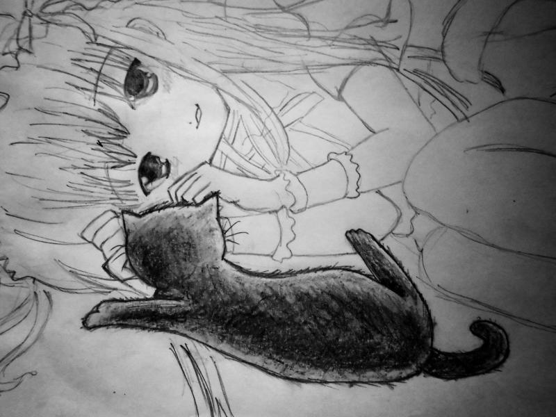 Рисуем лежащую аниме девушку кошку - шаг 7