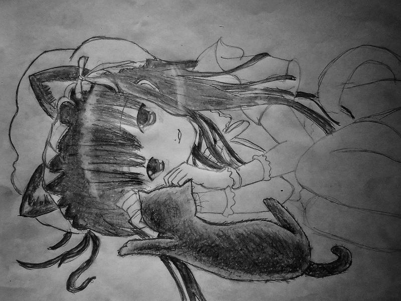 Рисуем лежащую аниме девушку кошку - шаг 9