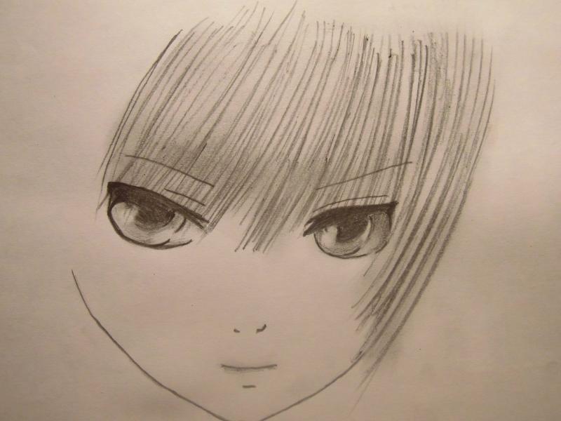 Рисуем лицо и волосы аниме девушки - шаг 3