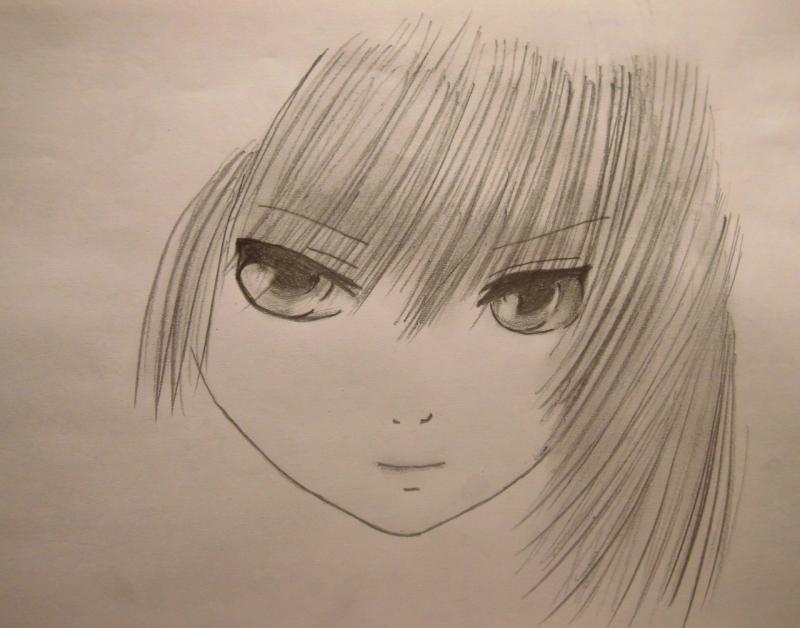 Рисуем лицо и волосы аниме девушки - шаг 4