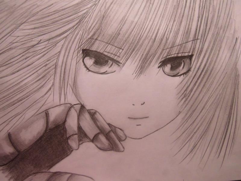 Рисуем лицо и волосы аниме девушки - шаг 6