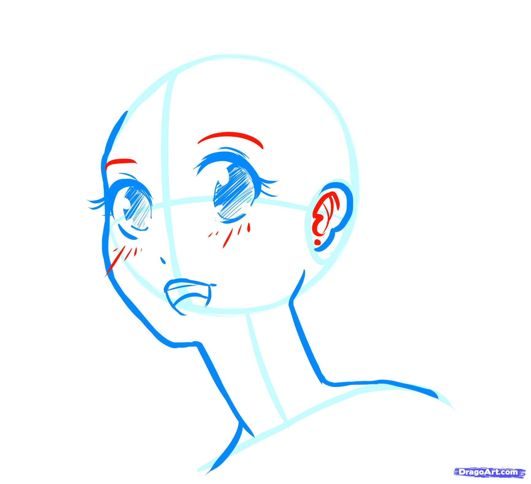 Рисуем лицо  девушки в стиле манга - шаг 13