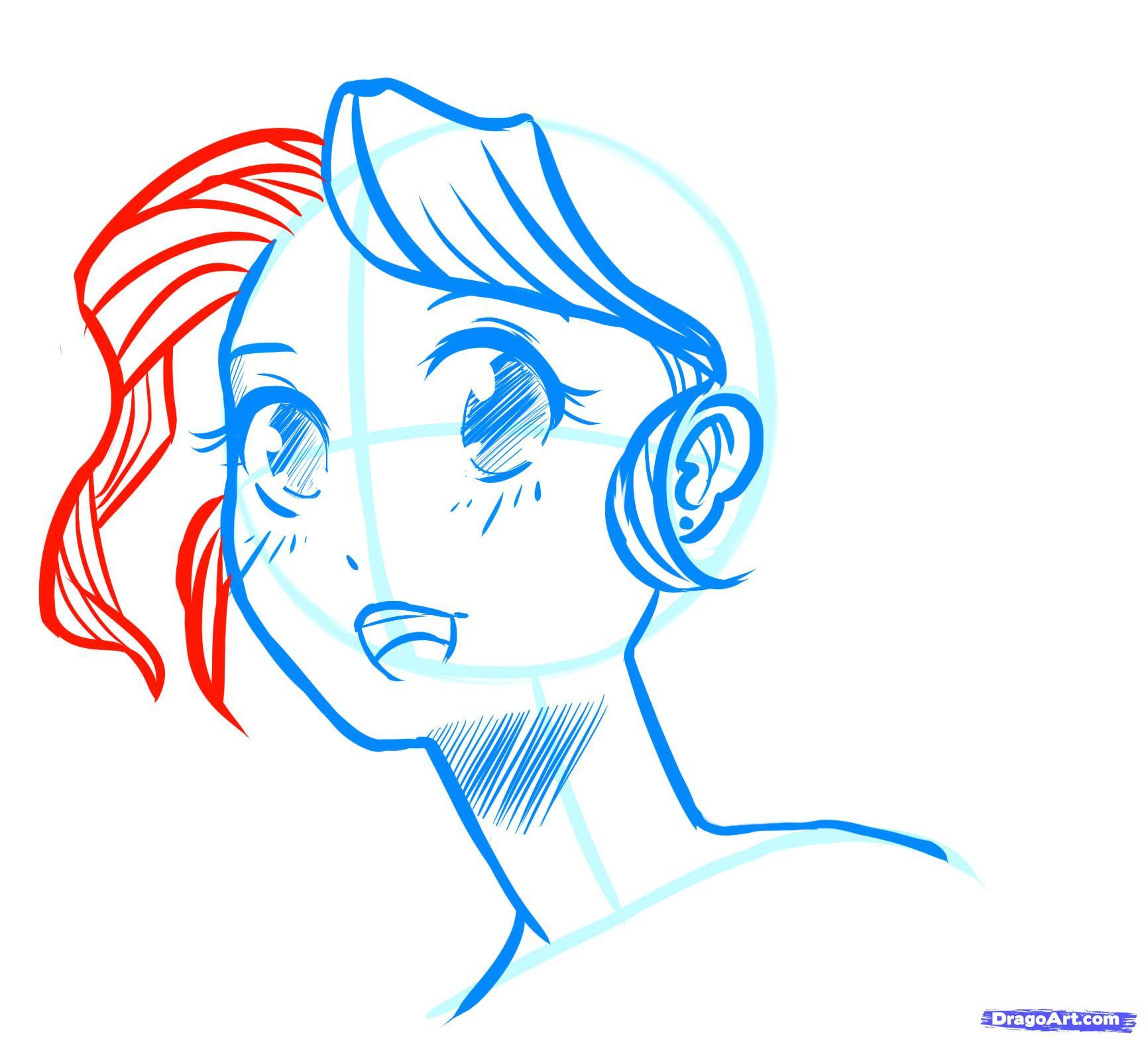 Рисуем лицо  девушки в стиле манга - шаг 16