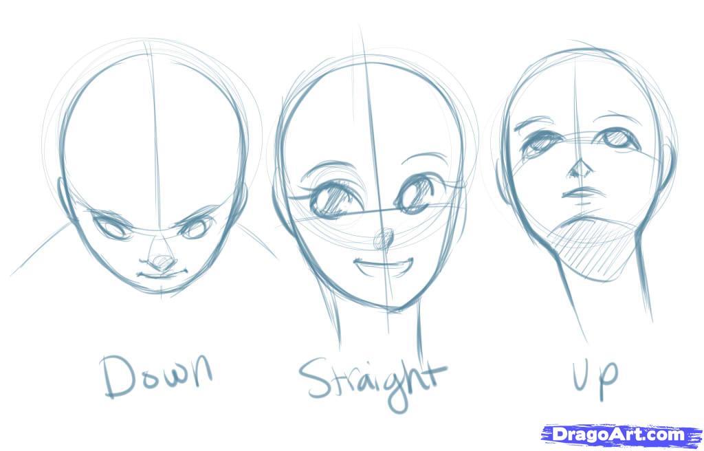 Рисуем лицо  девушки в стиле манга - шаг 3
