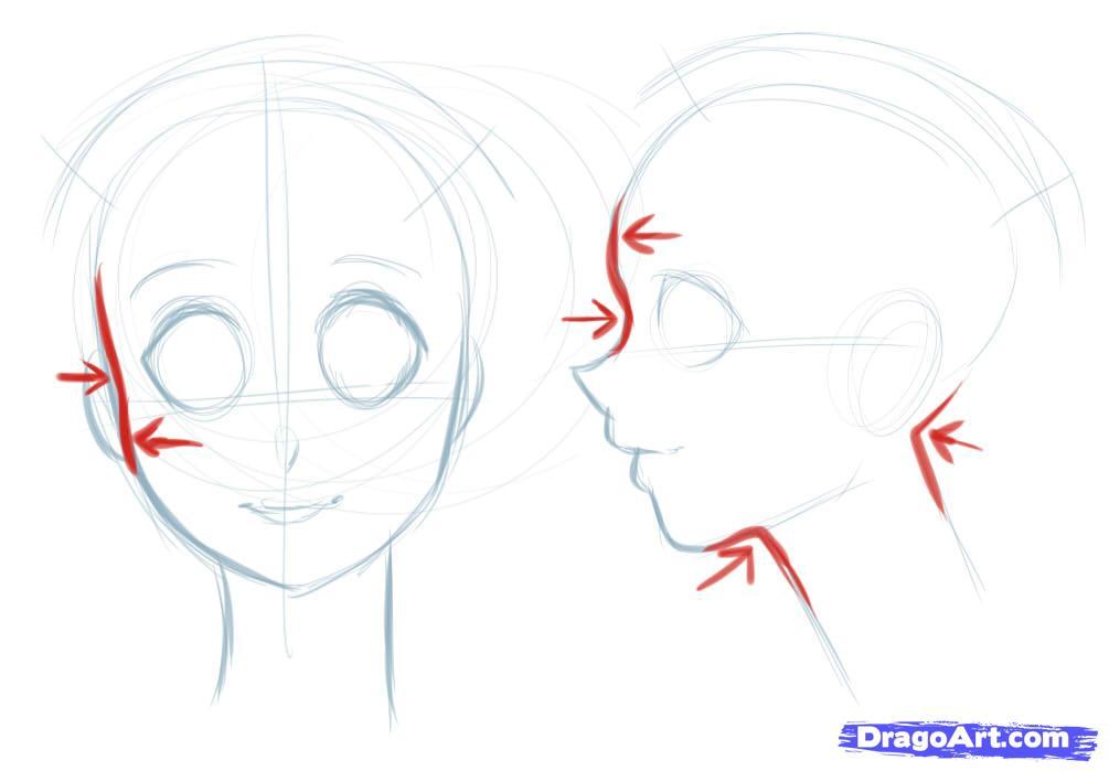 Рисуем лицо  девушки в стиле манга - шаг 4