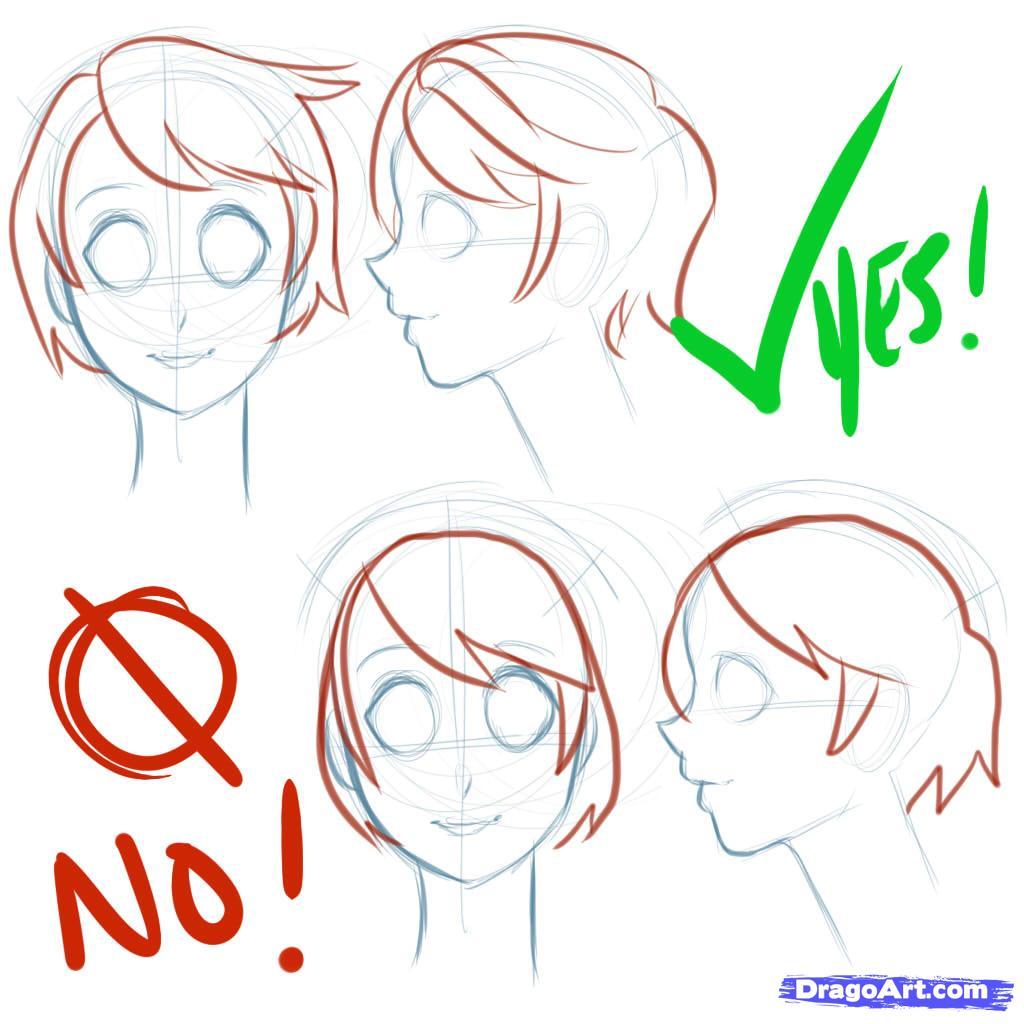 Рисуем лицо  девушки в стиле манга - шаг 5
