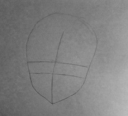 Рисуем лицо милой аниме девушки в шапке санты - шаг 1
