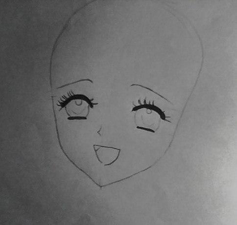 Рисуем лицо милой аниме девушки в шапке санты - шаг 2