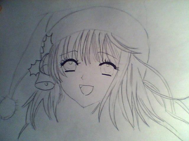 Рисуем лицо милой аниме девушки в шапке санты - шаг 3