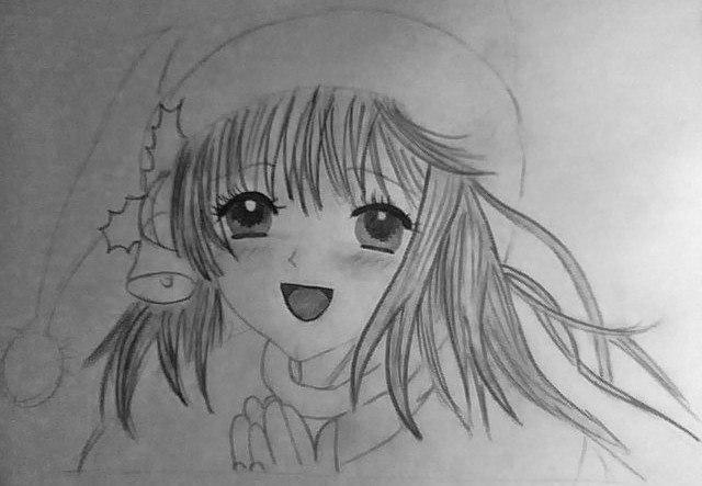 Рисуем лицо милой аниме девушки в шапке санты - шаг 6
