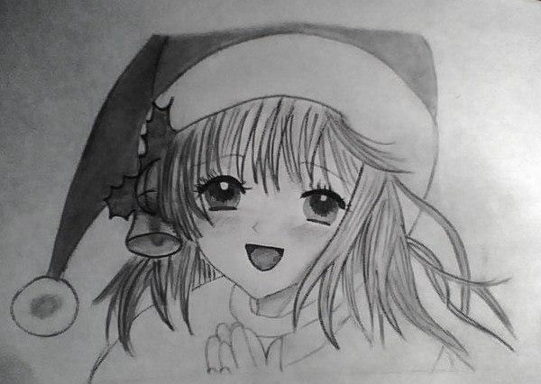 Рисуем лицо милой аниме девушки в шапке санты - шаг 7