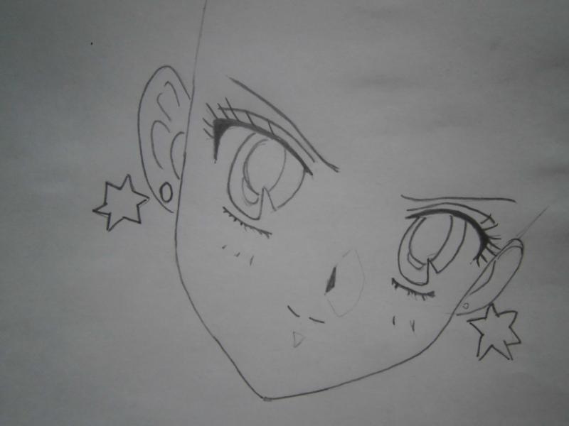 Рисуем лицо Сейлор Марс - шаг 2