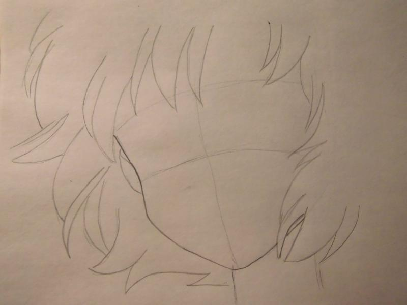 Рисуем лицо Сейлор Меркурий - шаг 2