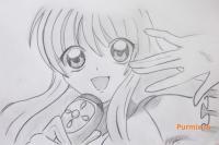 Фото Лину из аниме Мелодия русалки простым карандашом