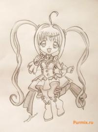 Фото Лючию из аниме Мелодия русалки простым карандашом