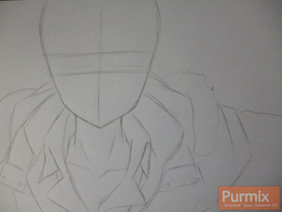 Рисуем Махиро Фува из аниме Буря потерь карандашами - шаг 1