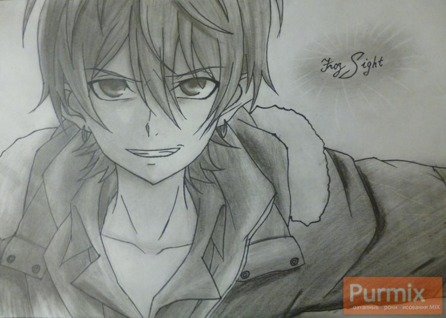 Рисуем Махиро Фува из аниме Буря потерь карандашами - шаг 11