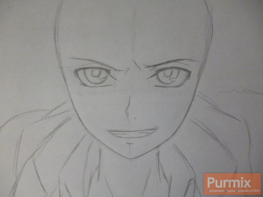 Рисуем Махиро Фува из аниме Буря потерь карандашами - шаг 2