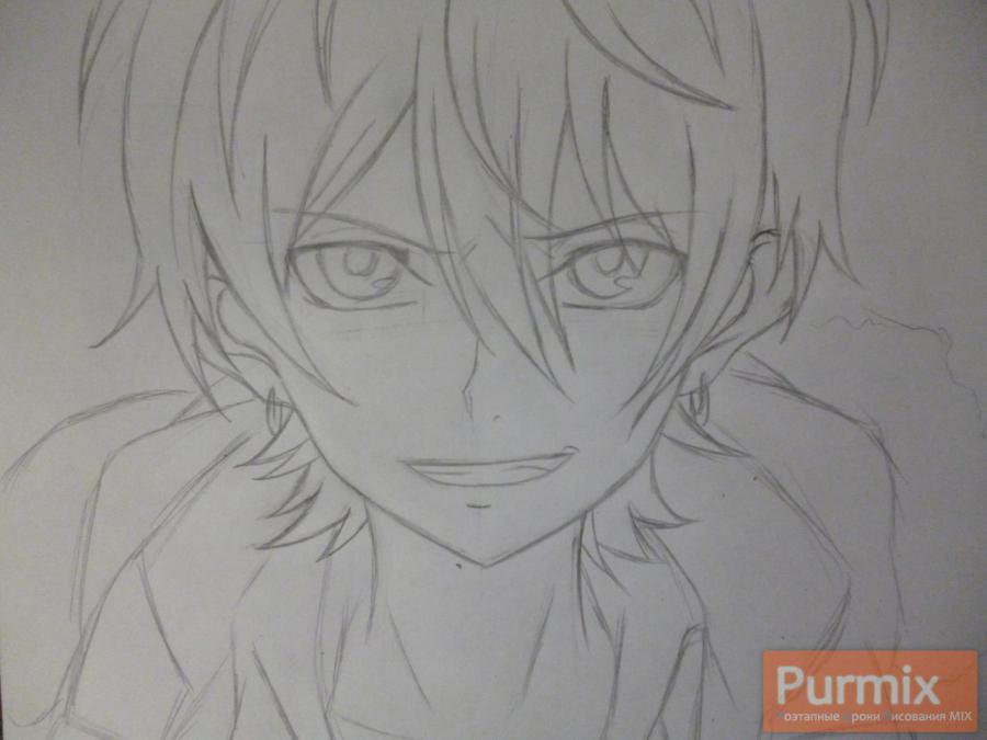 Рисуем Махиро Фува из аниме Буря потерь карандашами - шаг 3