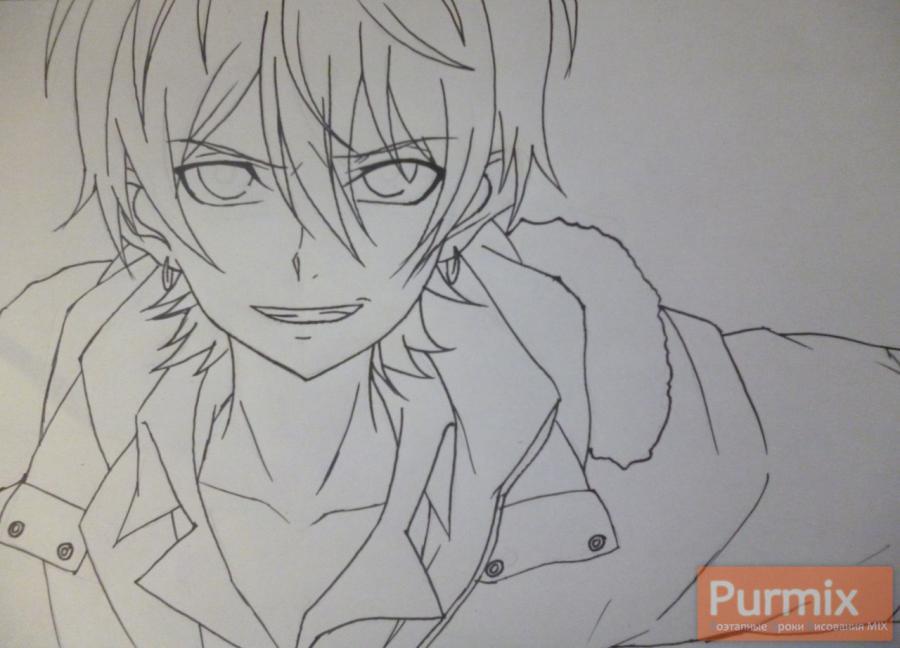 Рисуем Махиро Фува из аниме Буря потерь карандашами - шаг 4