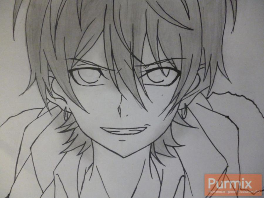 Рисуем Махиро Фува из аниме Буря потерь карандашами - шаг 5