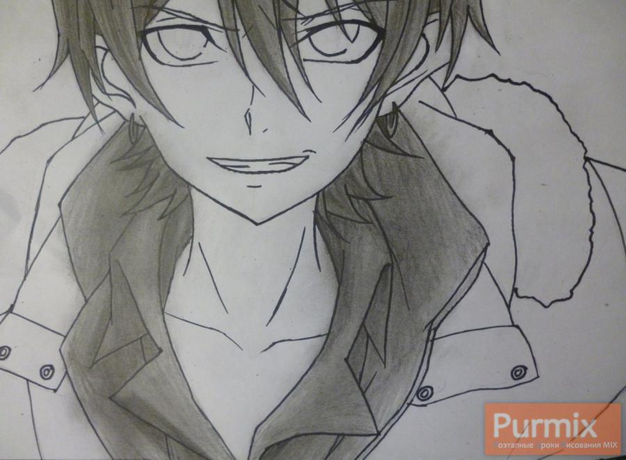 Рисуем Махиро Фува из аниме Буря потерь карандашами - шаг 7