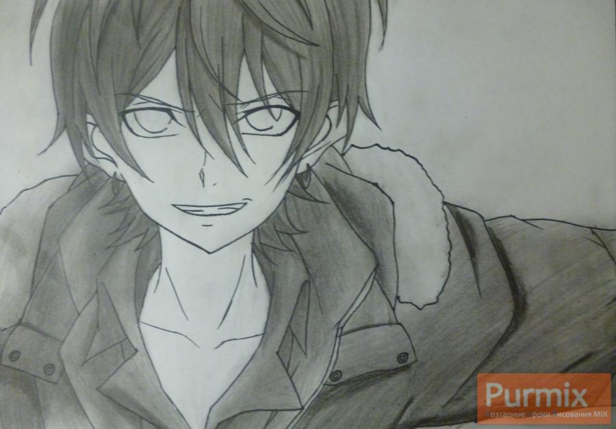 Рисуем Махиро Фува из аниме Буря потерь карандашами - шаг 8