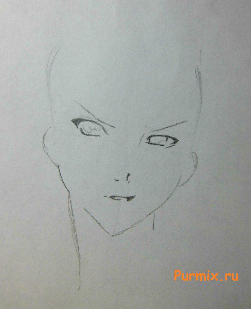 Как просто нарисовать портрет Махиро Фува простым - шаг 2
