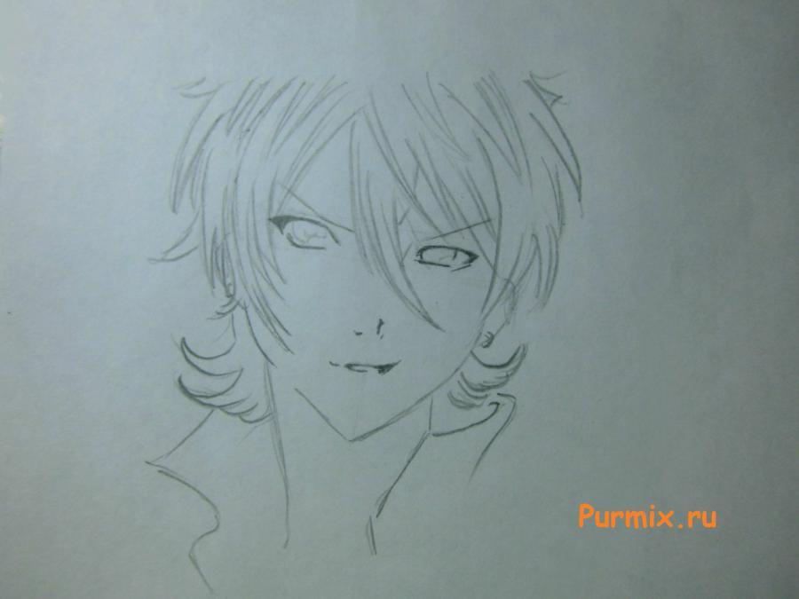 Как просто нарисовать портрет Махиро Фува простым - шаг 3