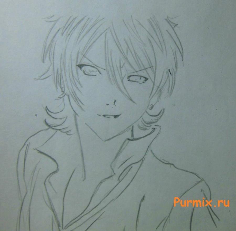 Как просто нарисовать портрет Махиро Фува простым - шаг 4