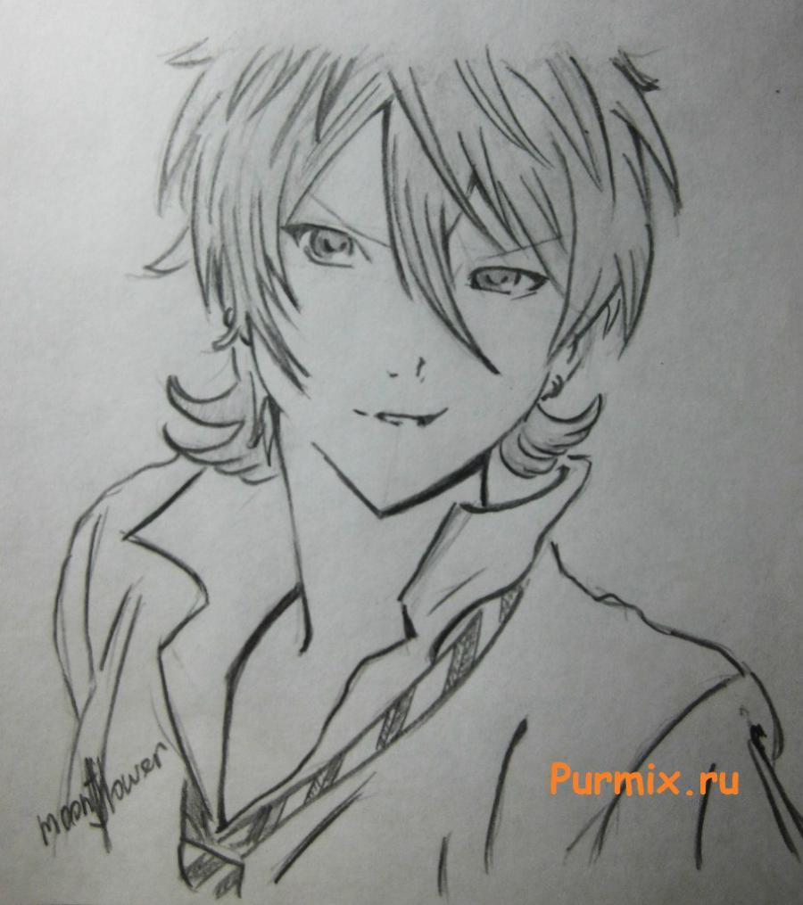 Как просто нарисовать портрет Махиро Фува простым - шаг 7